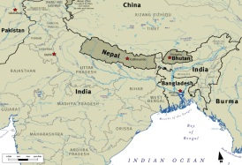 nepal bhutan map