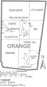 Map orange county NC